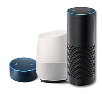 Smart Home steuerung mit Alexa, Google und Siri Sprachassistent.